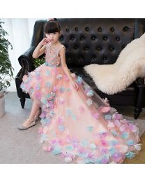 Exquisite Love 3D Kids Trail Dress-babycouture.in