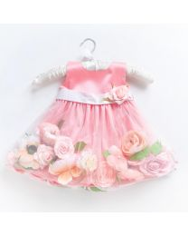 Little Pixie Floral Peach Kids Party Dress-babycouture.in