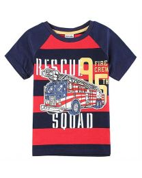 Firetruck Stripes Tshirt-babycouture.in