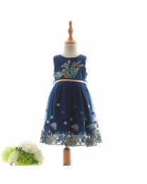 Floral Boutique Navy Kids Party Dress-babycouture.in