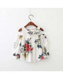 Floral Cold Shoulder Kids Top-babycouture.in