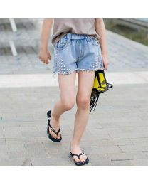 Funky Denim Pearl Shorts-babycouture.in