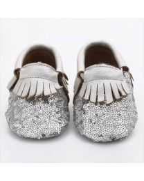 Funky Silver Sequin Baby Shoe-babycouture.in