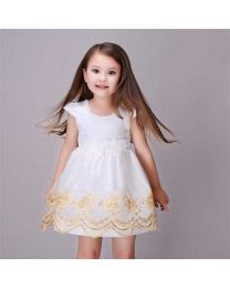 Gold Thread Embroidered Kids Dress-babycouture.in