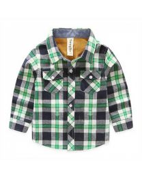 Green & Blue Checks Shirt-babycouture.in