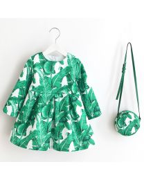 Green Leaves Love Kids Dress With Bag-babycouture.in