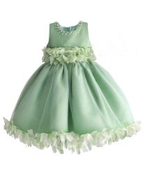 Greeny Love 3D Flower Kids Dress-babycouture.in
