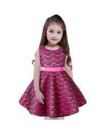 Hot Pink & Black Stylish Love Kids Dress-babycouture.in
