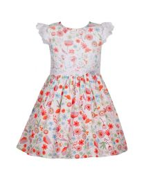 Bambiola Floral Print With Beautiful Scalloped Lace Baby Girl Dress-babycouture.in