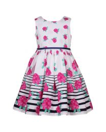 Bambiola Stripe Border Floral Baby Girl Dress-babycouture.in