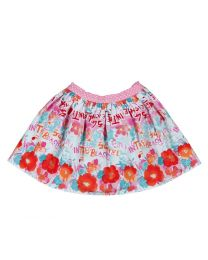 Bambiola Calligraphy Floral Print Baby Girl Skirt-babycouture.in