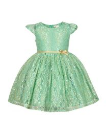 Bambiola Green Gold Threaded Net Baby Girl Dress-babycouture.in