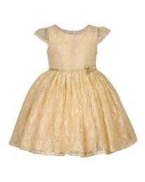 Bambiola Off White Gold Threaded Net Baby Girl Dress -babycouture.in