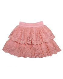 Bambiola Peach Gorgeous Scalloped Lace Baby Girl Skirt-babycouture.in