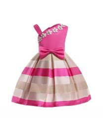 Jessica Pink & Gold Stripes Kids Party Frock-babycouture.in