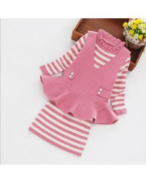 Knitted Pink & Creme Peplum Dress-babycouture.in