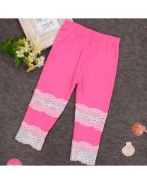 Lace Cut Out Hot Pink Summer Capri-babycouture.in
