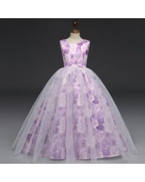 Lavender Roses Stylish Princess Gown-babycouture.in