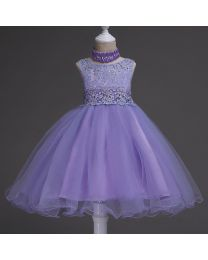 Lavender Glitter Love Kids Party Dress-babycouture.in