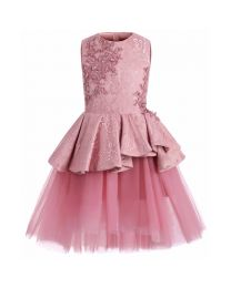 Layered Blush Lovely Kids Party Dress-babycouture.in