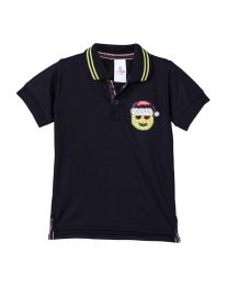 Lilpicks Black Half Sleeves Sequin Smiley Patch Polo Kids Tshirt -babycouture.in