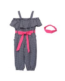 Lilpicks Black n White Geometric Print Jumpsuit with Headband