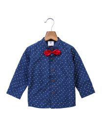 Lilpicks Blue Denim Shirt With Bow For Baby Boy-babycouture.in