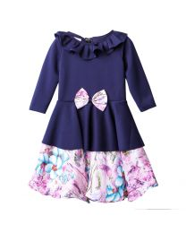 Lilpicks Blue Floral Peplum Girls Partywear Dress-babycouture.in
