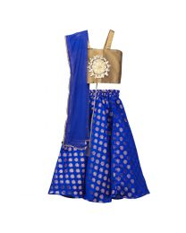 Lilpicks Blue Gold Lehnga Choli Girls Partywear Set-babycouture.in