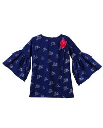 Lilpicks Blue Owl Print Bell Sleeves Long Girls Top-babycouture.in