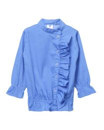 Lilpicks Blue Polka Dot Frilly Vintage Girls Top-babycouture.in