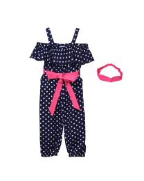 Lilpicks Blue Polka Print Jumpsuit with Headband-babycouture.in