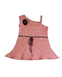 Lilpicks Deer Print One Shoulder Flared Girls Top-babycouture.in