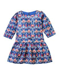 Lilpicks Elegant Royal Motif Digital Print Blue Silk Girl Dress-babycouture.in