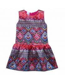 Lilpicks Elegant Royal Motif Digital Print Pink Silk Girl Dress-babycouture.in