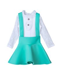 Lilpicks Frilly White Top and Green Scuba Skirt Set-babycouture.in