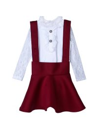 Lilpicks Frilly White Top and Wine Scuba Skirt Set-babycouture.in