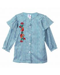 Lilpicks Green Striped Embroidered Girls Shirt-babycouture.in