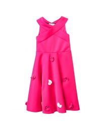 Lilpicks Hot Pink Off Shoulder Petal Girls Gown-babycouture.in