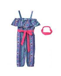 Lilpicks Multicolour Tribal Print Jumpsuit with Headband-babycouture.in