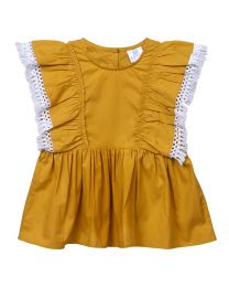 Lilpicks Mustard Ruffled Lace Long Girls Top-babycouture.in
