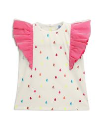 Lilpicks Neon Droplets Print Frilly Girls Top-babycouture.in