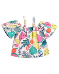 Lilpicks Neon Fruit Print Off-Shoulder Strappy Girls Top-babycouture.in
