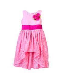 Lilpicks Neon Pink High Low Partywear Girl Gown-babycouture.in