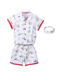 Lilpicks Off White Quirky Print Jumpsuit with Headband-babycouture.in