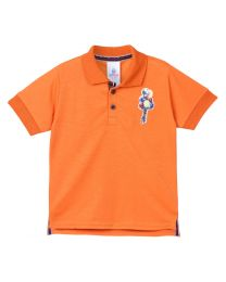 Lilpicks Orange Half Sleeves Sequin Ballon Patch Polo Kids Tshirt-babycouture.in