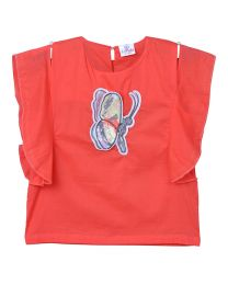 Lilpicks Orange Ruffle Butterfly Girls Top-babycouture.in