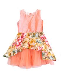 Lilpicks Peach Floral Peplum Girls Partywear Dress-babycouture.in