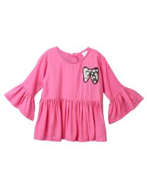 Lilpicks Pink Bow Sequin Bell Sleeves Long Girls Top-babycouture.in
