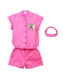 Lilpicks Pink Bow Sequin Patch Jumpsuit with Headband-babycouture.in